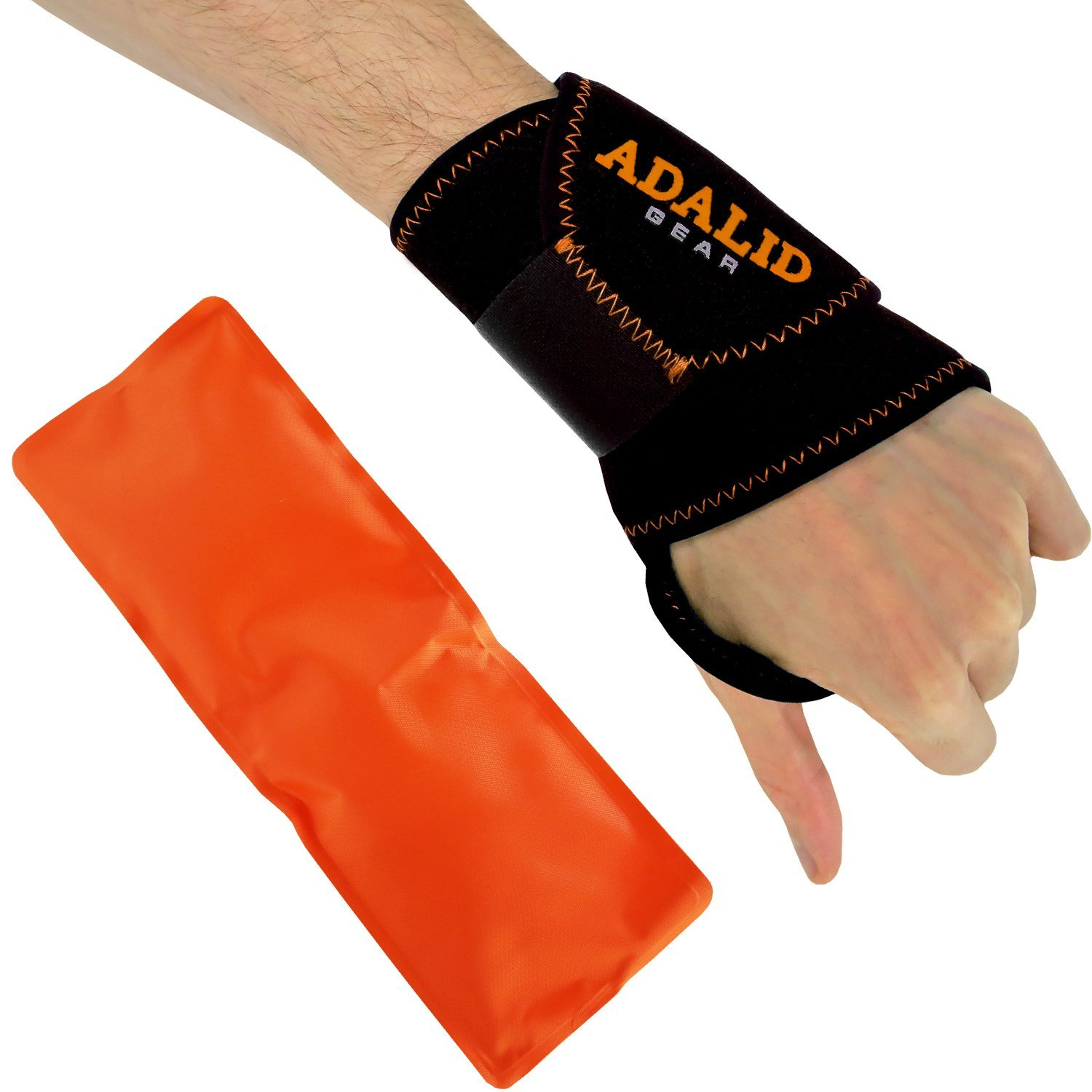 Wrist Support Brace with Hot and Cold Gel Ice Pack (Orange ...
