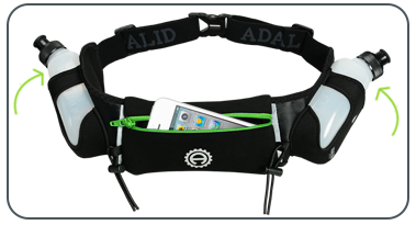 Green Hydration Belt Water Bottles